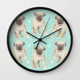 Watercolor Pug Puppy Wall Clock