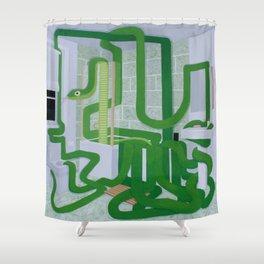 Green Snake In The Bathroom Shower Curtain