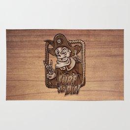 Zombie Pirate Skully Surf or Die on Wood. Rug