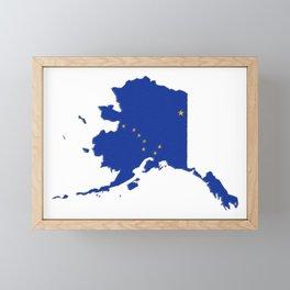 Alaska Map with Alaskan Flag Framed Mini Art Print