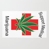 medical Area & Throw Rugs featuring Support Medical Marijuana by BudProducts.us