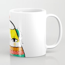 Winter cat with red bird Coffee Mug