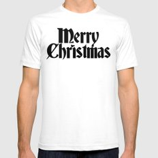 Merry Christmas White LARGE Mens Fitted Tee