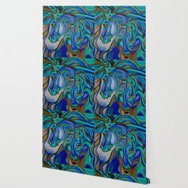 Wild Horses In Brown and Teal Wallpaper