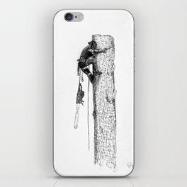 Tree surgeon Arborist using large stihl chainsaw iPhone Skin