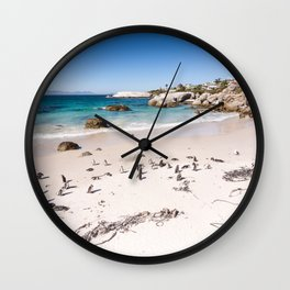 Penguins on Boulders Beach in Cape Town, South Africa Wall Clock