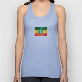 Vintage Aged and Scratched Ethiopian Flag Unisex Tank Top