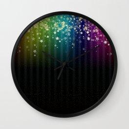 Colorful Space Rainbow Stars Wall Clock