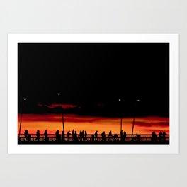 Sunset walk over the bridge Art Print