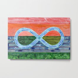 Eternity Symbol over flat Landscape Metal Print