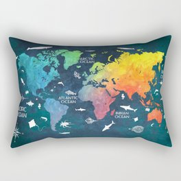 Ocean World Map color #map #worldmap Rectangular Pillow