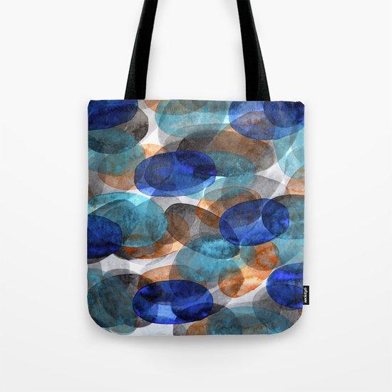 Blue Gray Orange Ovals Tote Bag