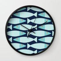 bass Wall Clocks featuring Wavy Bass by Jill Byers