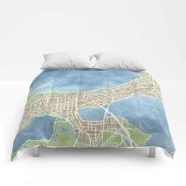 City Map Madison Wisconsin watercolor  Comforters