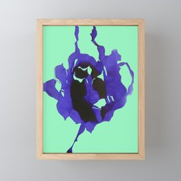Blue ink rose on a green Framed Mini Art Print