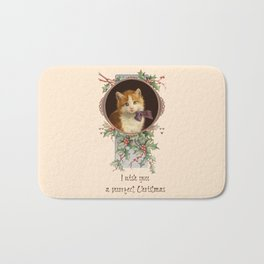 PURRFECT CHRISTMAS greeting card Bath Mat