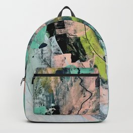 Connect [4] : a vibrant acrylic abstract in neon green, blues, pinks, & hints of orange Backpack