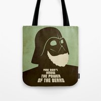 nfl Tote Bags featuring Beard Vader by Beardy Graphics
