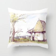 Romanian watercolor Throw Pillow