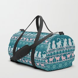 Fair Isle Knitting Cats Love // teal white and pink kitties Duffle Bag