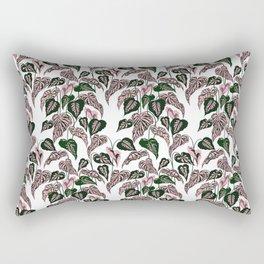 Pink and Green indoor Plant Caladium - home decor Rectangular Pillow