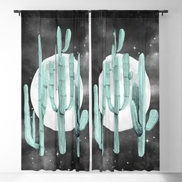 Cactus Nights Full Moon Starry Sky Sage by Nature Magick Blackout Curtain