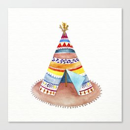 Tepee watercolor Canvas Print