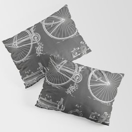 Bicycle Patent - Cyclling Art - Black Chalkboard Pillow Sham