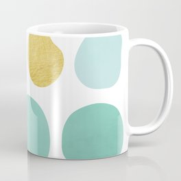 Aqua Pebbles & gold Coffee Mug