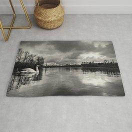 Swan Lake - b & w Rug