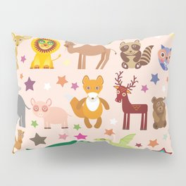 Set of funny cartoon animals character on pink seamless background. zoo. Vector Pillow Sham