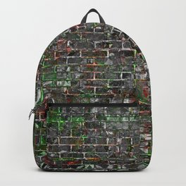 Grunge Wall Of Mould And Green Backpack