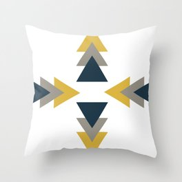 Treble Arrow Pattern in Navy Blue, Grey, and Mustard Yellow on White. Minimalist Geometric Throw Pillow