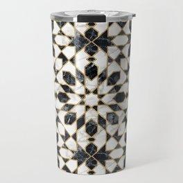 Black and white marble Moroccan mosaic Travel Mug