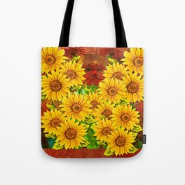 Sunflower Watercolor Pattern (Color) Tote Bag