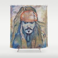 jack sparrow Shower Curtains featuring Jack Sparrow by Nicola Girello