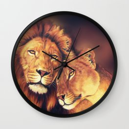 Lions Soulmates Wall Clock