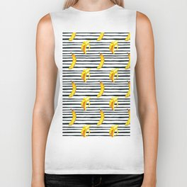 Hand painted yellow black watercolor bananas stripes pattern Biker Tank