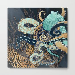 Metallic Octopus II Metal Print
