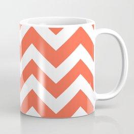 Tomato - red color - Zigzag Chevron Pattern Coffee Mug