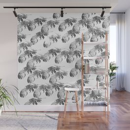FEATHERS GRAY AND WHITE PATTERN Wall Mural