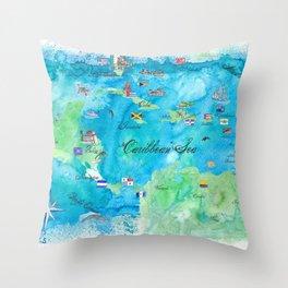 Caribbean Cruise Travel Poster Map Antilles West Indies Cuba Florida Throw Pillow