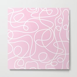 Doodle Line Art | White Lines on Baby Pink Metal Print