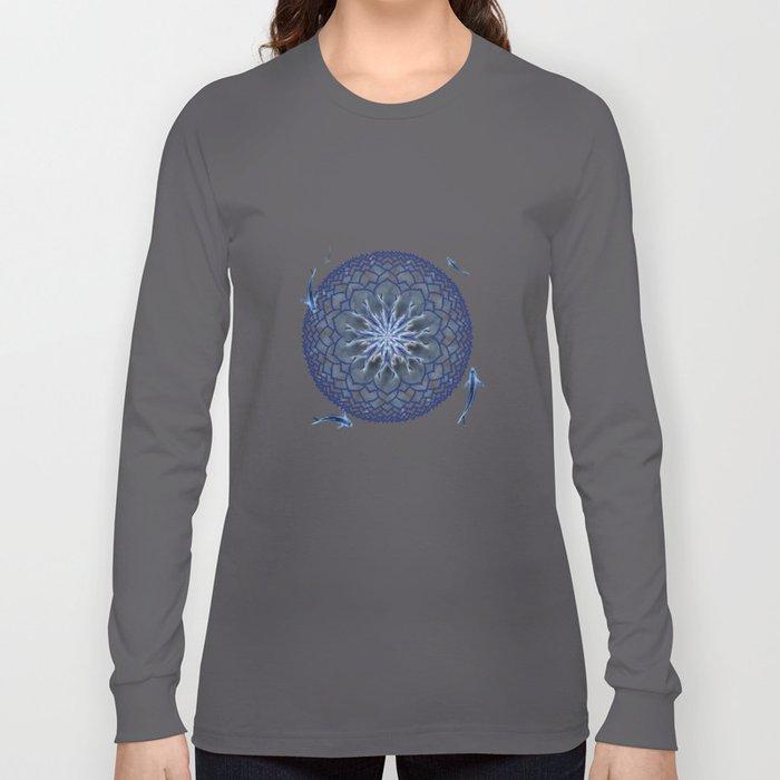 8 Koi Lotus Mandala in Blue Long Sleeve T-shirt