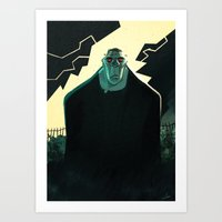 frankenstein Art Prints featuring Frankenstein by Annalisa Leoni