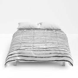 Black Brush Lines on White Comforters