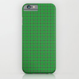 Christmas Holly Green and Evergreen Tartan with White Lines iPhone Case