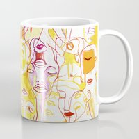 women Mugs featuring Women by Clara López