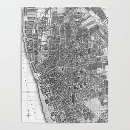 Vintage Map of Liverpool England (1890) BW Poster