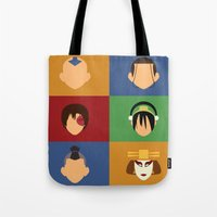 zuko Tote Bags featuring Team Avatar by Adrian Mentus